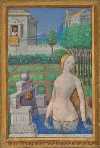 Bathsheba Bathing; Jean Bourdichon (French, 1457 - 1521); Leaf from the Hours of Louis XII,Tours, France; 1498 - 1499; Tempera and gold on parchment; Leaf: 24.3 × 17 cm (9 9/16 × 6 11/16 in.); 2003.105.recto