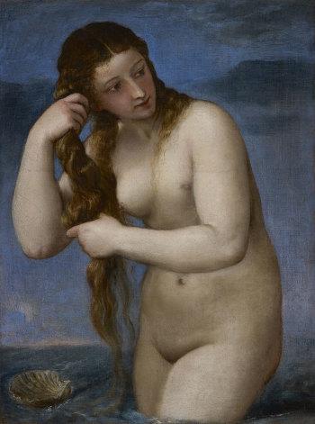 Titian, Venus Rising from the Sea ('Venus Anadyomene'), c.1520. Venus