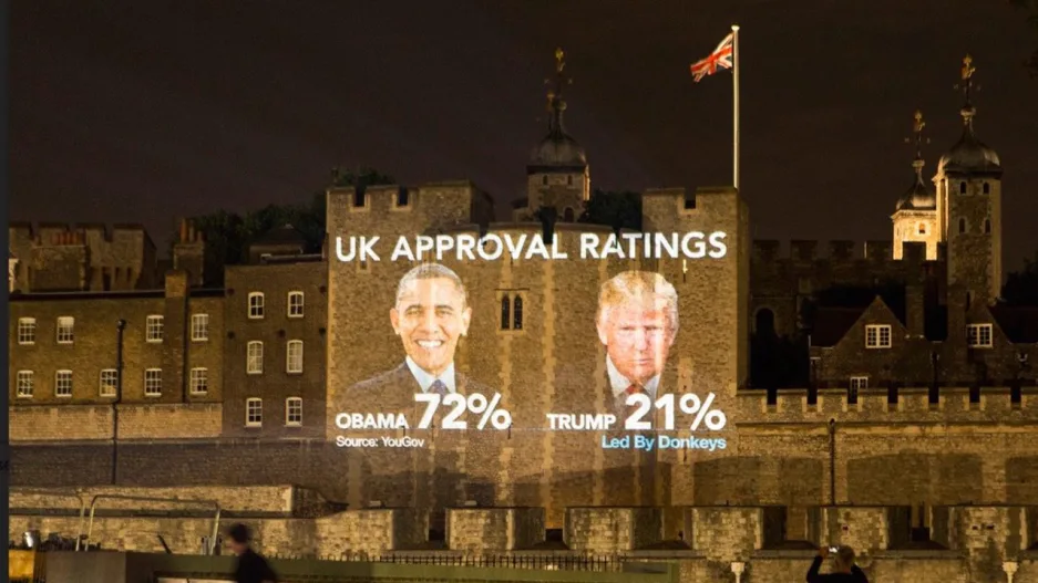 Obama vs Trump UK approval ratings are being projected on to the Tower of London. Obama: 72% Trump 21% Tower of London, 2019