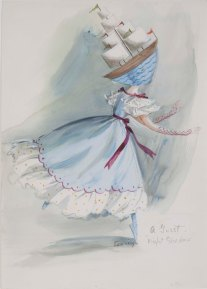 A Guest, costume design for The Night Shadow, a ballet by George Balanchine 1945