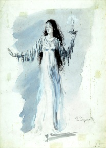 The Sleepwalker, 1945 costume design for The Night Shadow, a ballet by George Balanchine