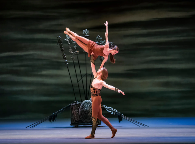 Denis Rodkin (Spartacus) and Anastasia Denisova (Phrygia) in the Bolshoi's Spartacus. Photograph Tristram KentonThe Guardian