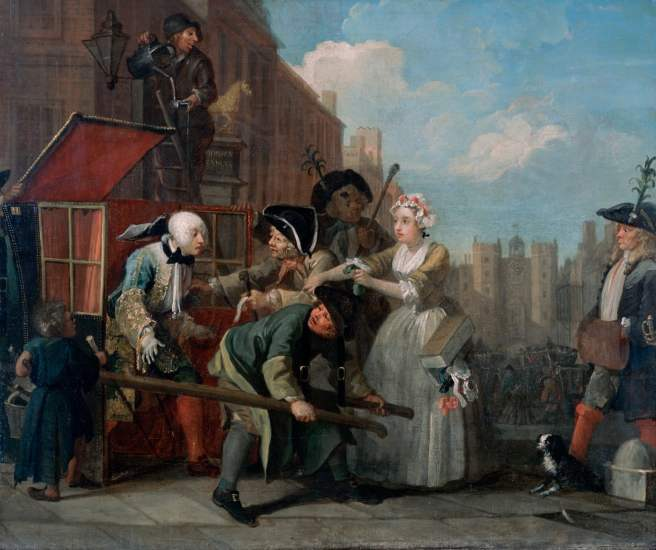 A Rake's Progress: The Arrest. William Hogarth, 1732–34