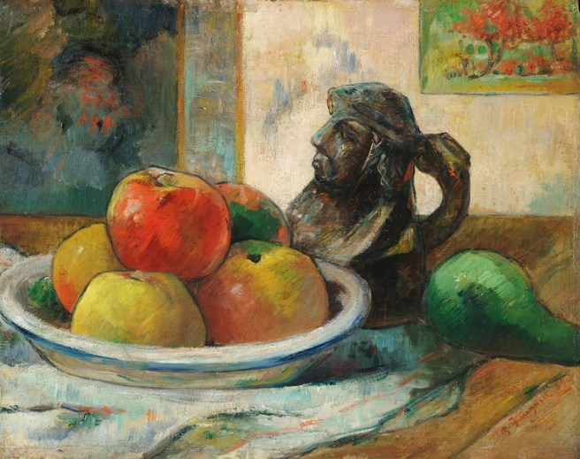 Image Paul Gauguin, 'Still Life with Apples, a Pear, and a Ceramic Portrait Jug', 1889. Harvard Art MuseumsFogg Museum Gift of Walter E. Sachs, 1958.292 Photo Imaging Department © President and Fellows of Harvard College