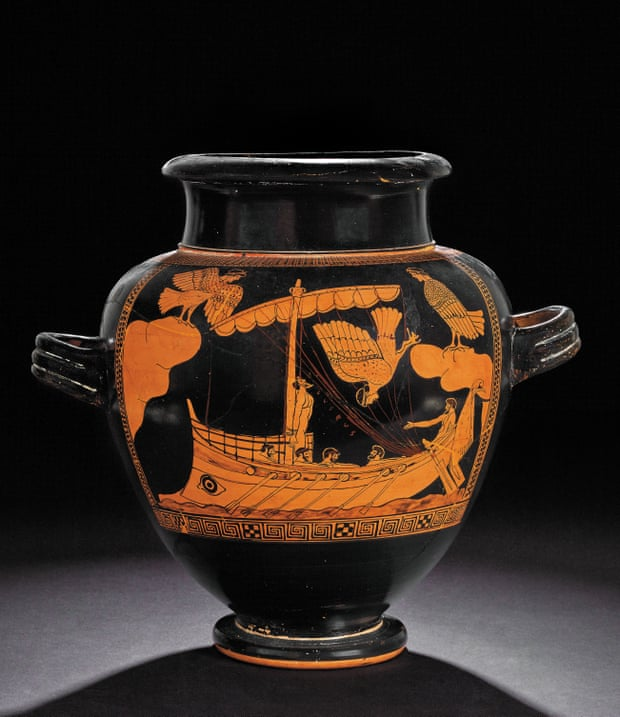 Red-figure jar, c480-470BC Odysseus, strapped to the mast, sails past the Sirens. Photograph British Museum