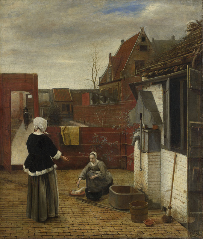 A Woman and her Maid in a Courtyard (about 1660/1) by Pieter de Hooch. London, National Gallery